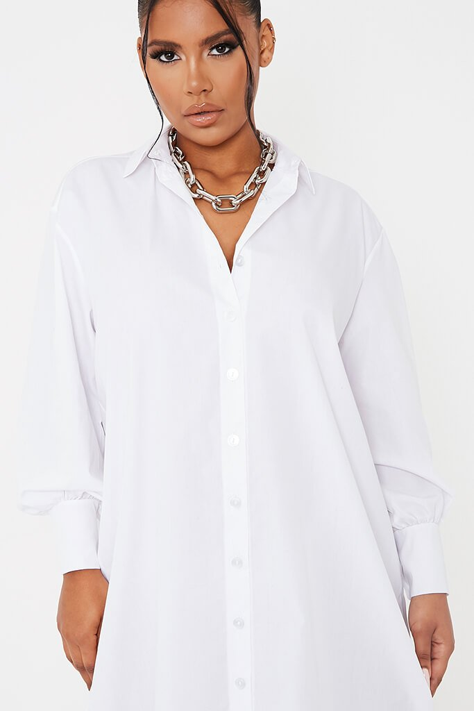 White Woven Oversized Dipped Hem Midi Shirt Dress view 5