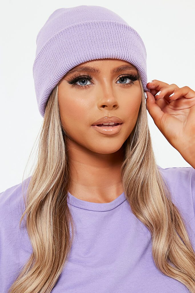 Lilac Knitted Beanie Hat view 3