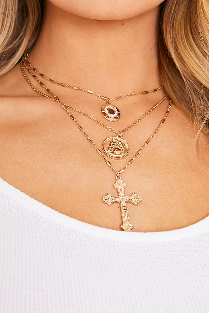Gold Layered Cross And Locket Necklace view 2
