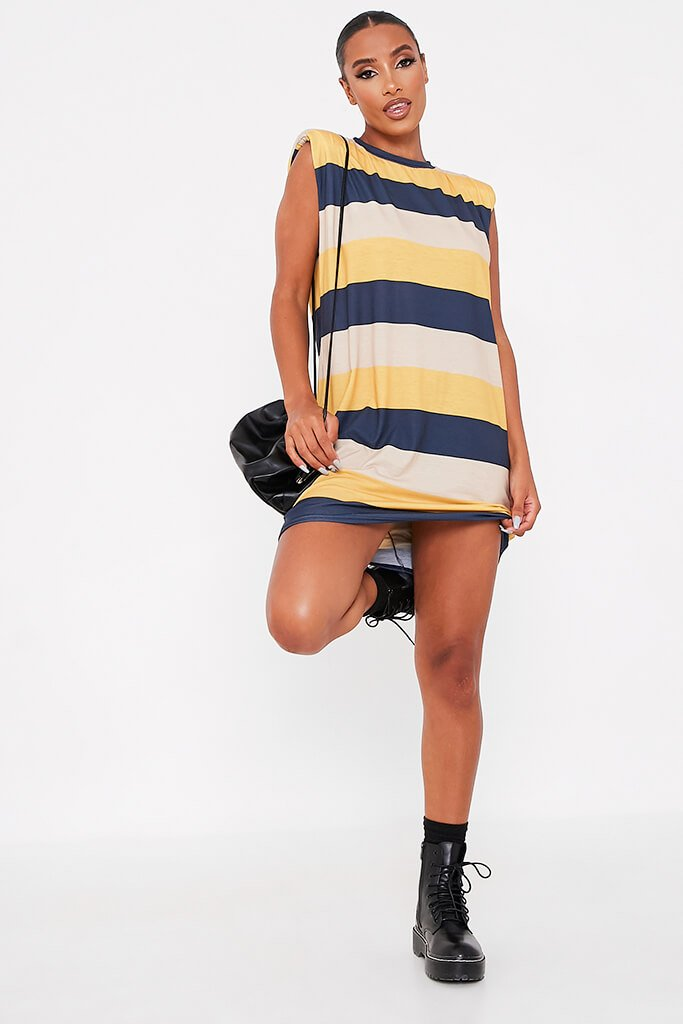 Navy Jersey Stripe Shoulder Pad Dress view 2