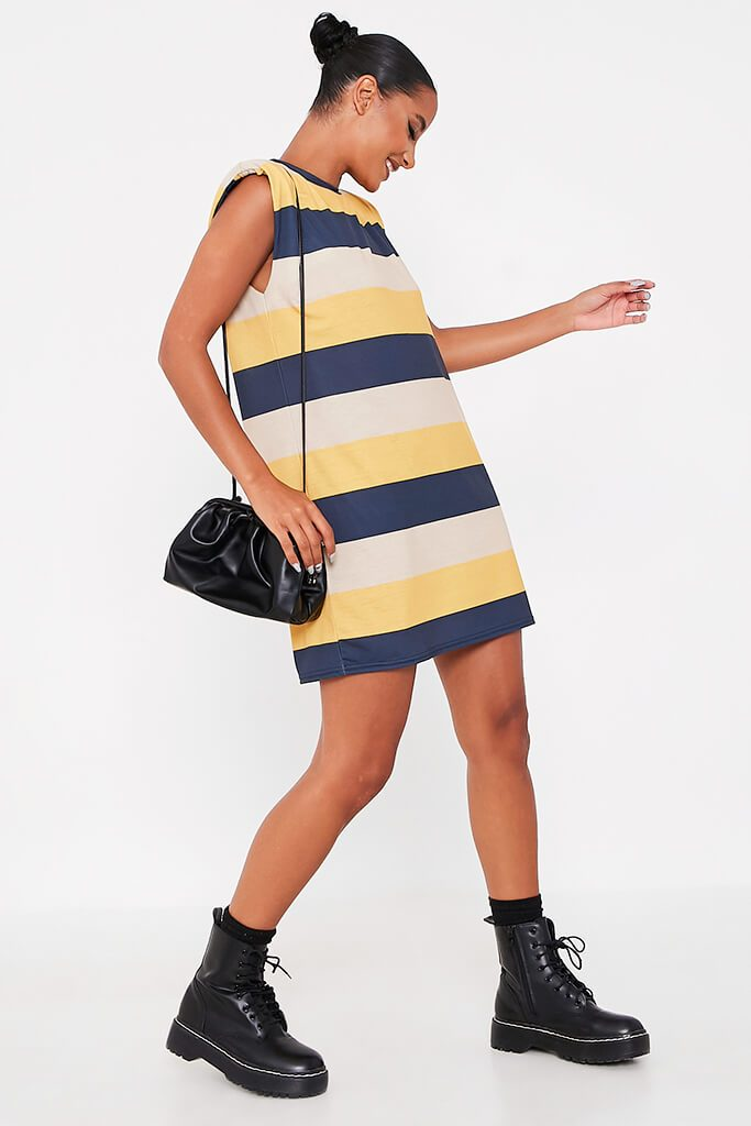 Navy Jersey Stripe Shoulder Pad Dress view 3