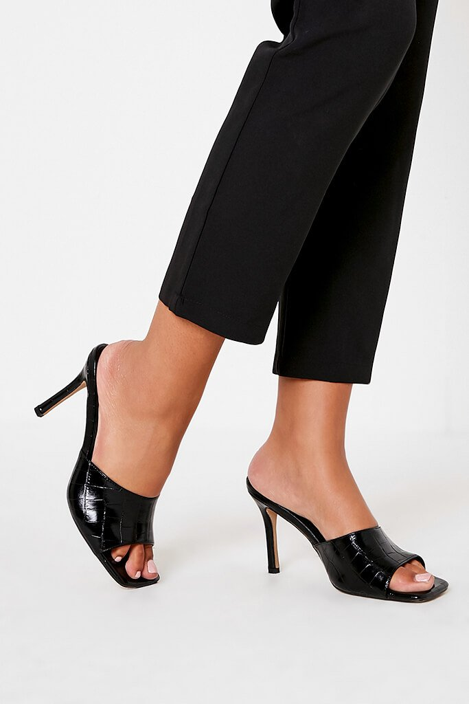 Black Croc Square Toe Mules