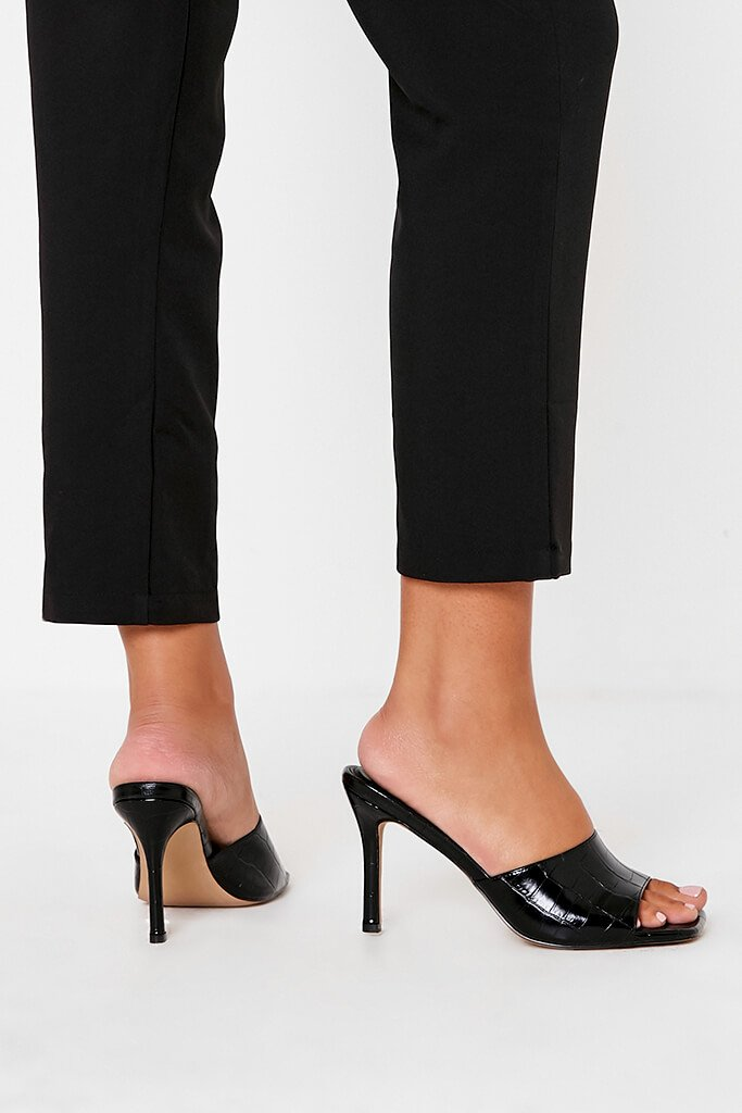 Black Croc Square Toe Mules view 2