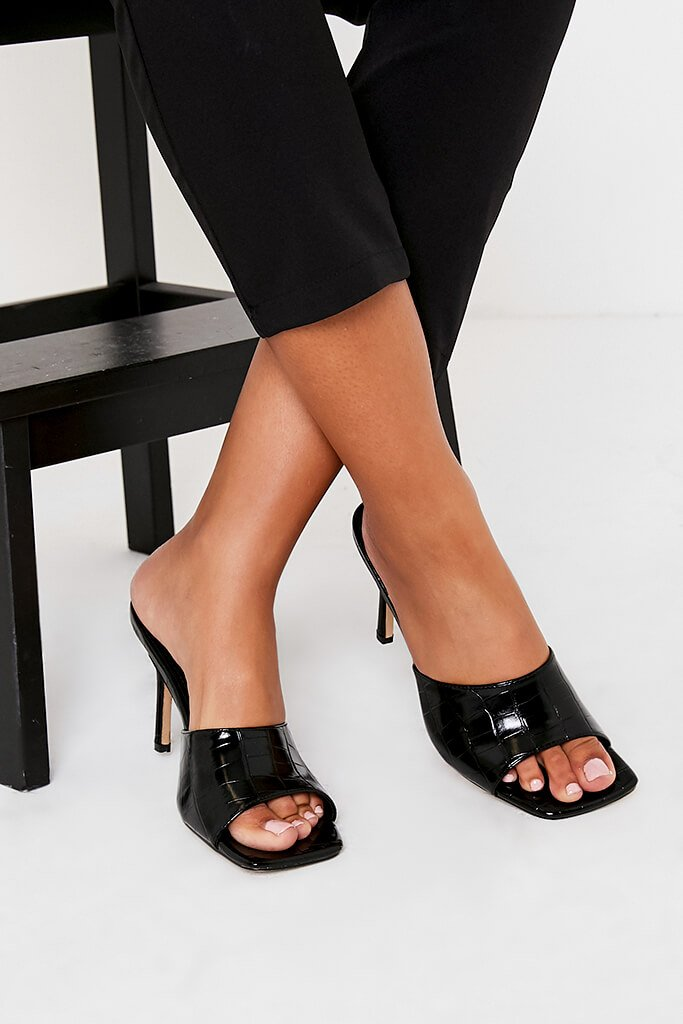 Black Croc Square Toe Mules view 3