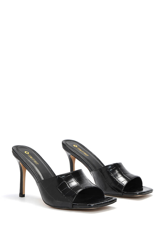 Black Croc Square Toe Mules view 4