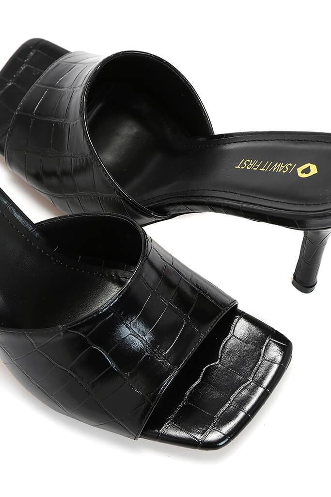 Black Croc Square Toe Mules view 5