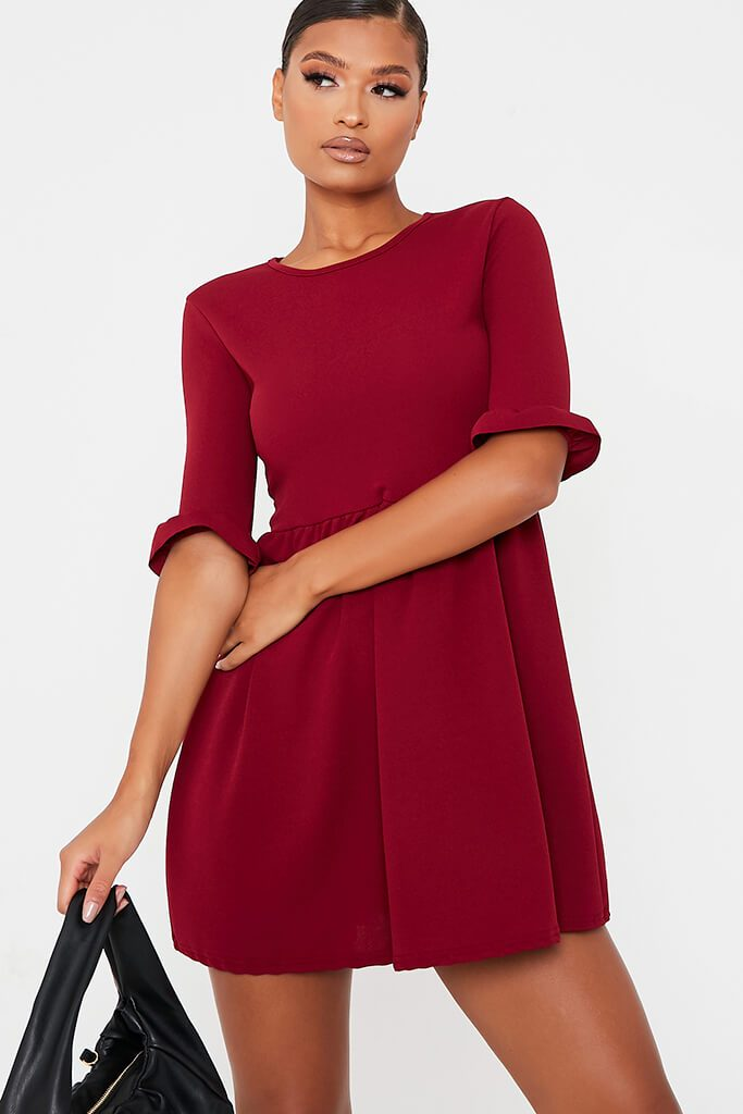 Burgundy Woven Frill Sleeve Smock Dress