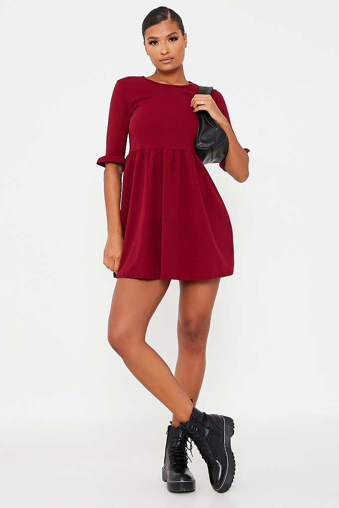 Burgundy Woven Frill Sleeve Smock Dress view 2