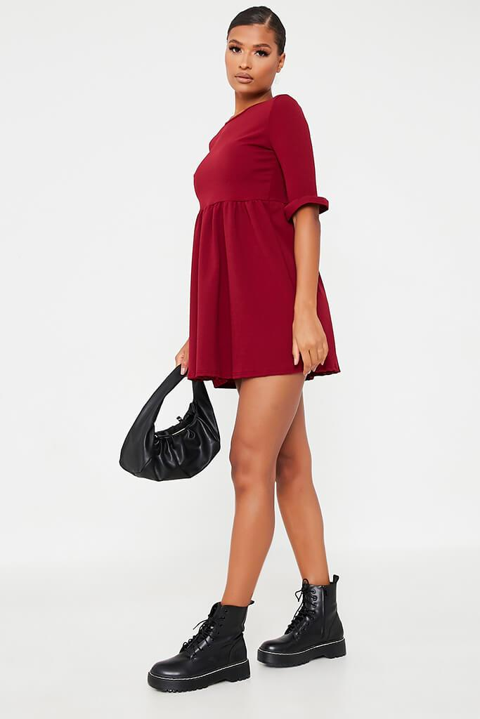 Burgundy Woven Frill Sleeve Smock Dress view 3