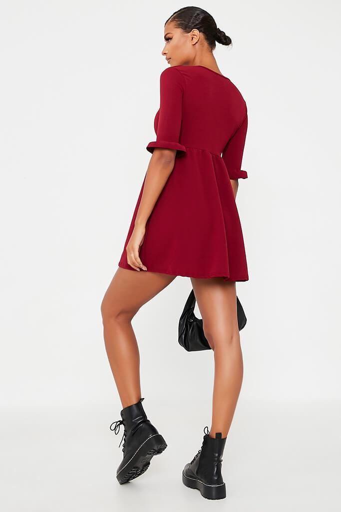 Burgundy Woven Frill Sleeve Smock Dress view 4