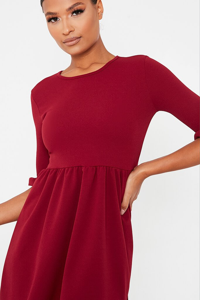 Burgundy Woven Frill Sleeve Smock Dress view 5