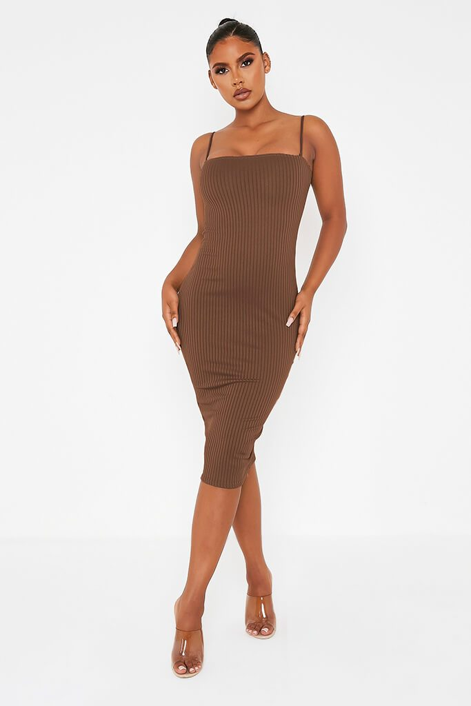 Chocolate Ribbed Square Neck Cami Midi Dress view main view