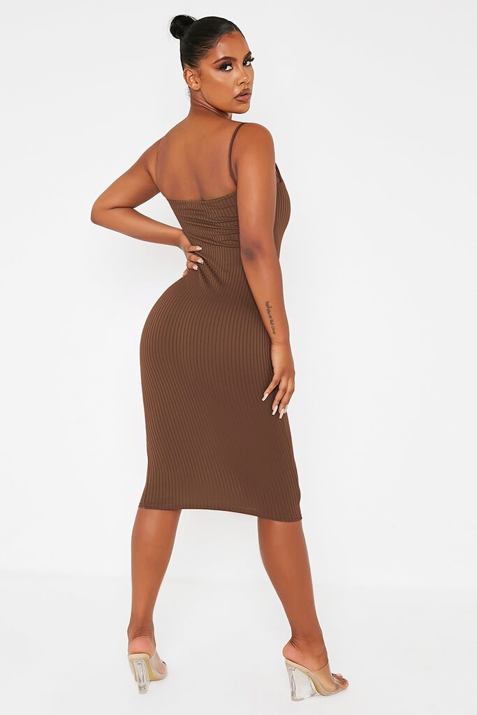 Chocolate Ribbed Square Neck Cami Midi Dress view 4
