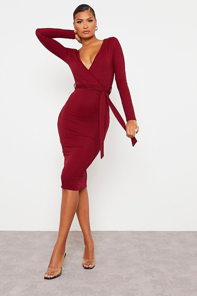 Burgundy Ribbed Wrap Front Belted Midi Dress