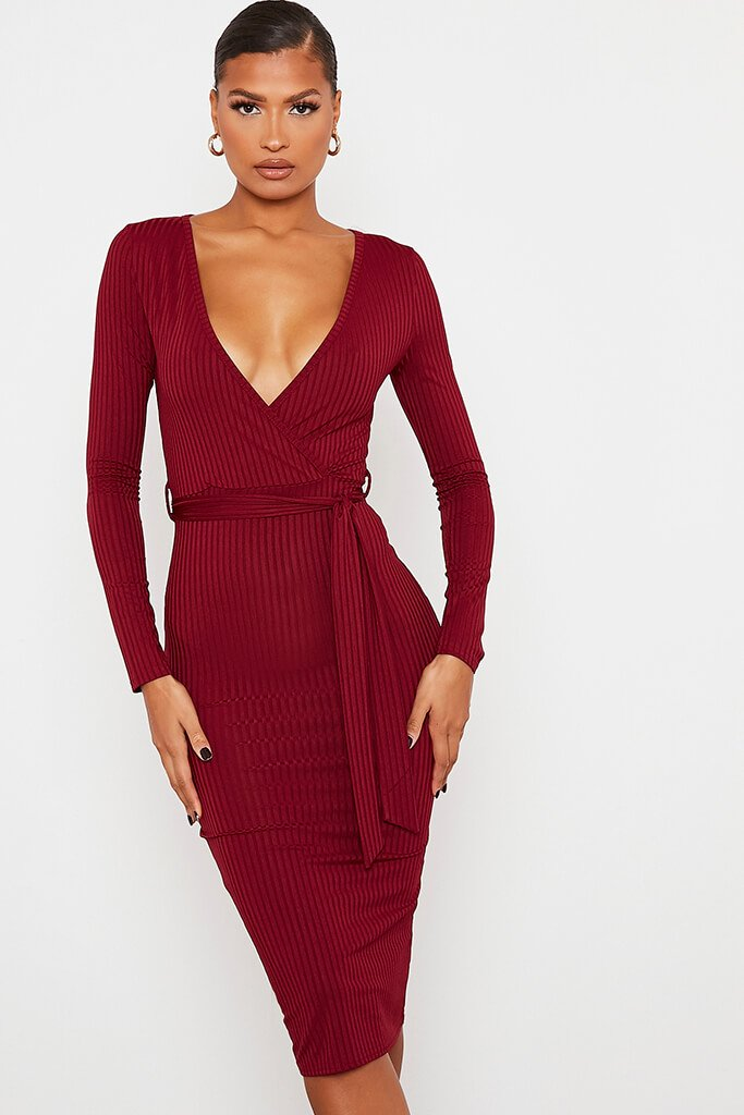 Burgundy Ribbed Wrap Front Belted Midi Dress view 2