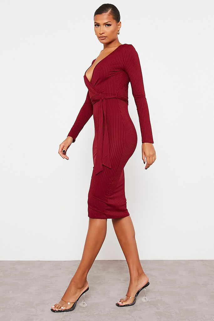 Burgundy Ribbed Wrap Front Belted Midi Dress view 3