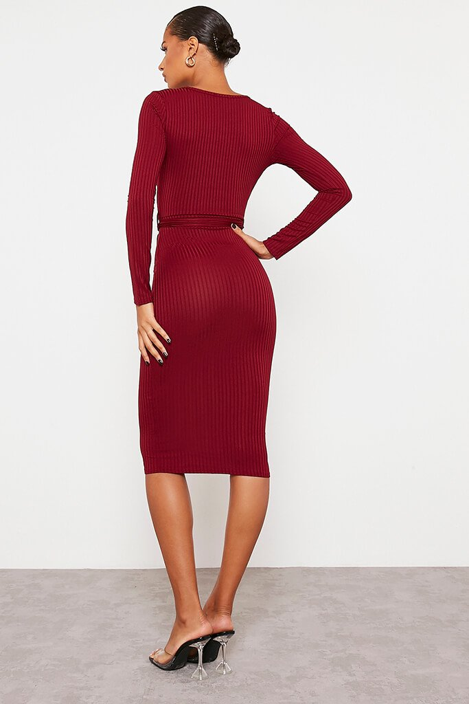 Burgundy Ribbed Wrap Front Belted Midi Dress view 4