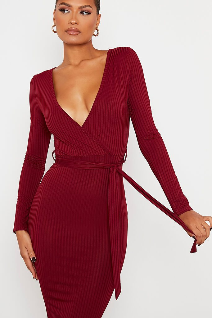 Burgundy Ribbed Wrap Front Belted Midi Dress view 5