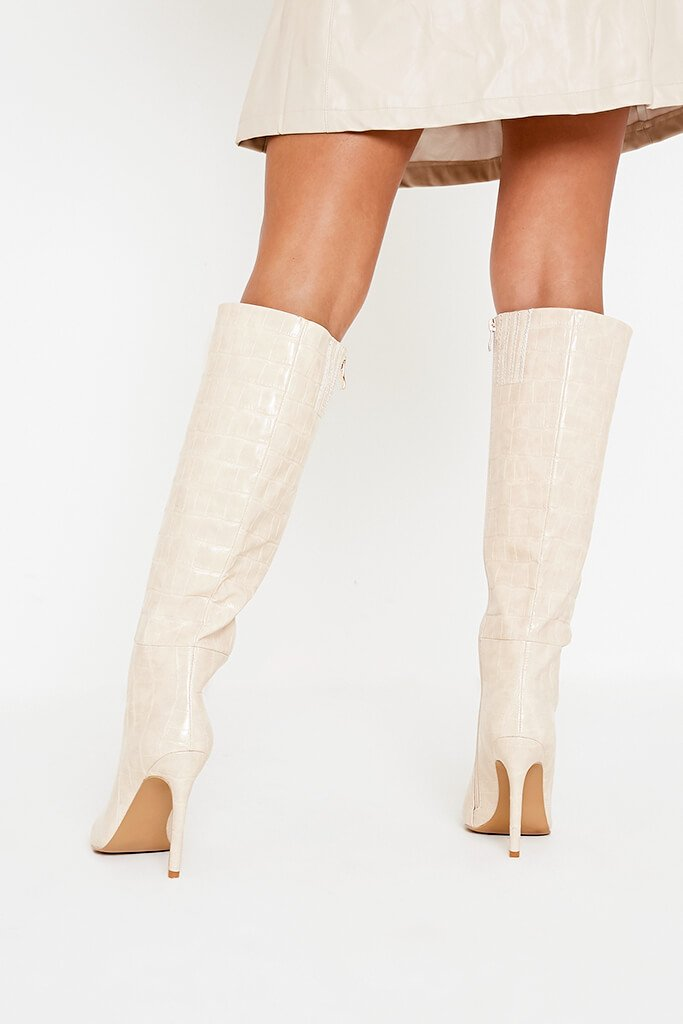 Ecru Pointed Croc Knee Boots view 4
