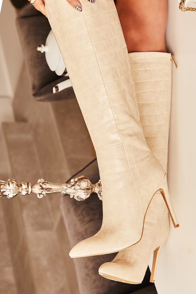 Ecru Pointed Croc Knee Boots view main view