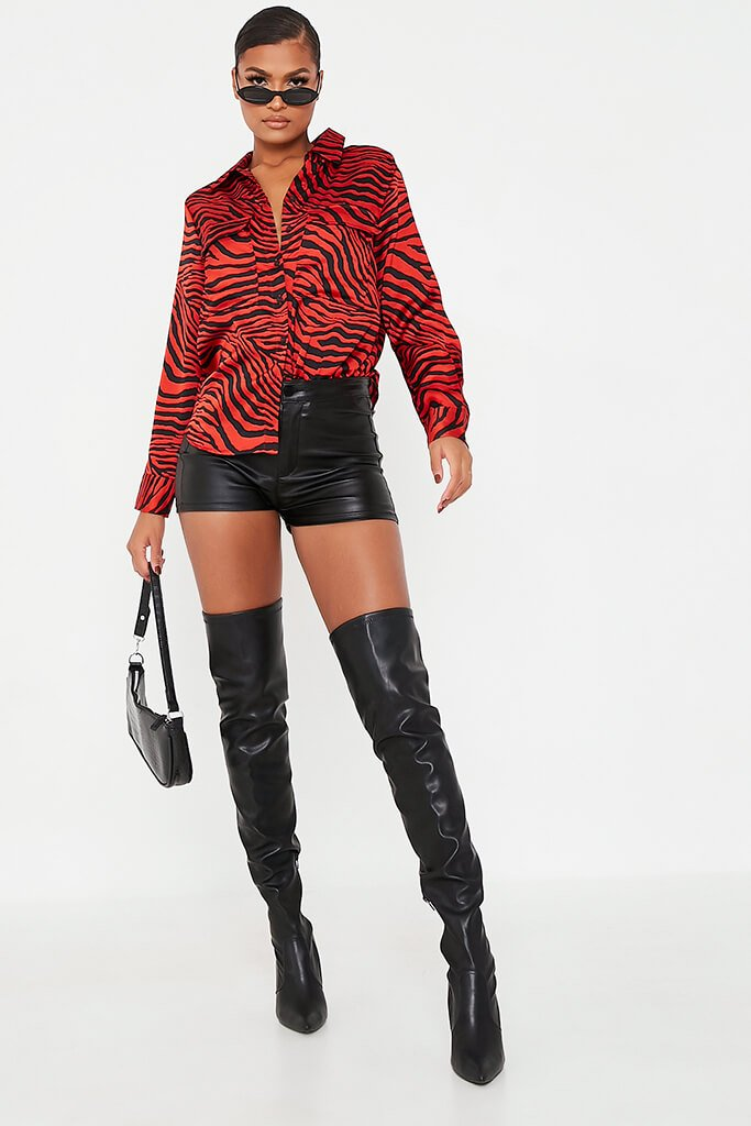 Red Animal Print Satin Blouse view 2