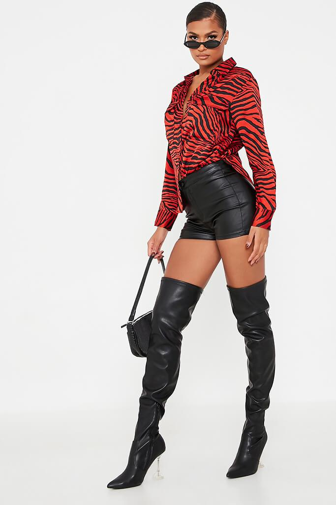 Red Animal Print Satin Blouse view 3