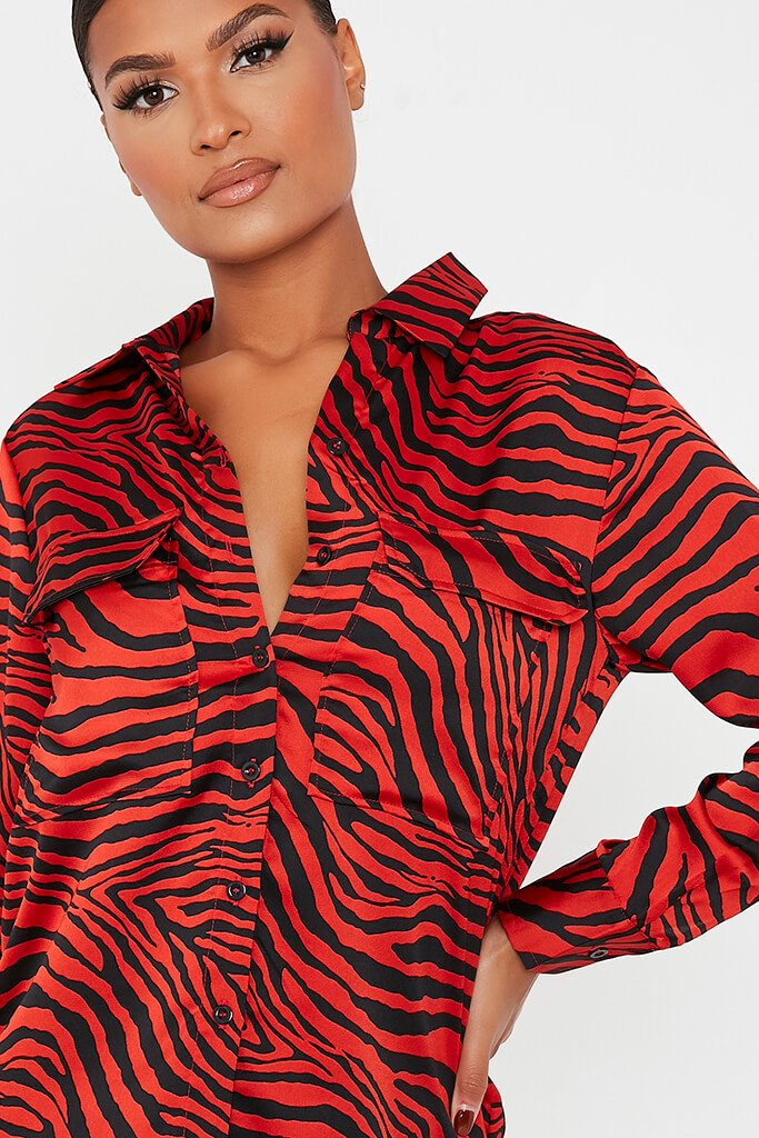 Red Animal Print Satin Blouse view 5