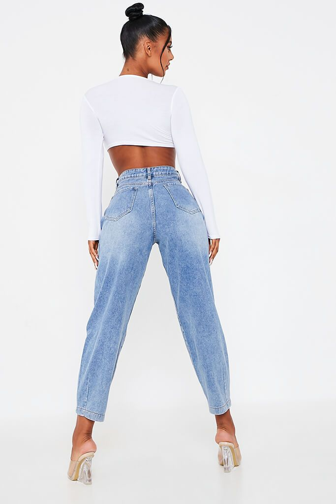 Mid Wash Pleated Slouchy Jeans view 3