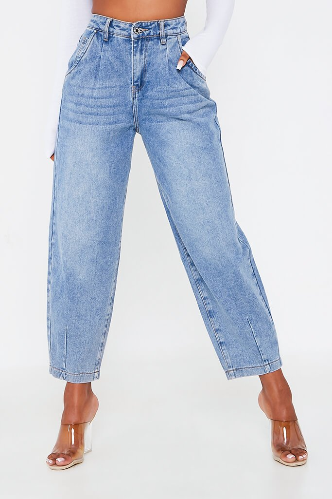 Mid Wash Pleated Slouchy Jeans view 4