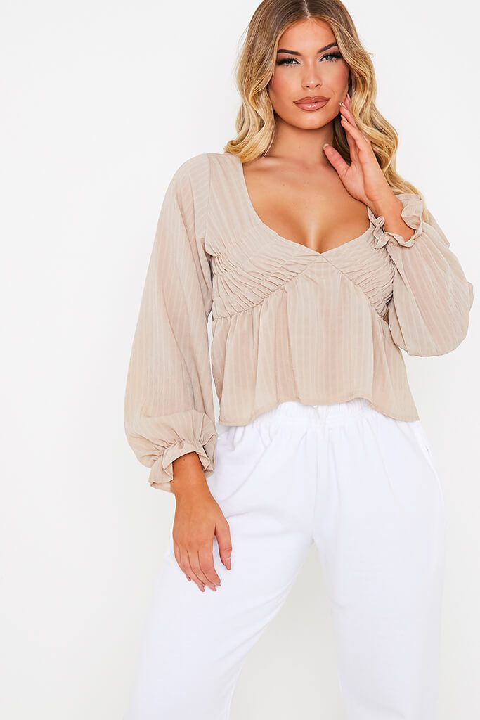Taupe Woven Plunge Balloon Sleeve Smock Top