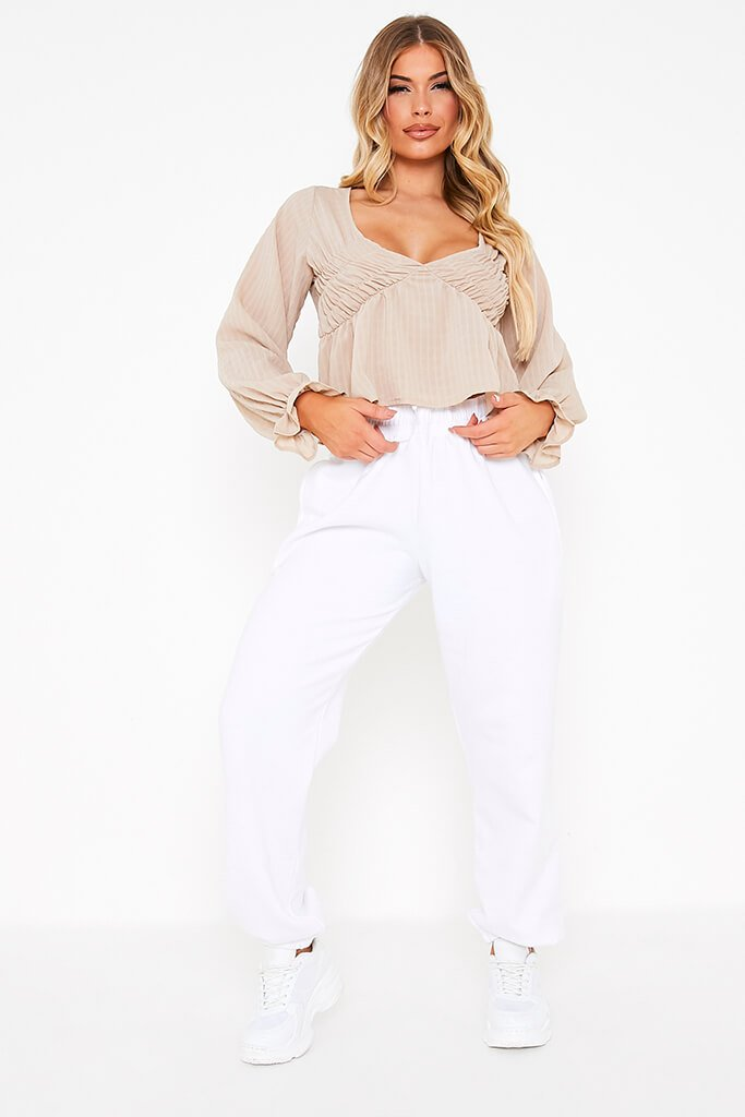 Taupe Woven Plunge Balloon Sleeve Smock Top view 2