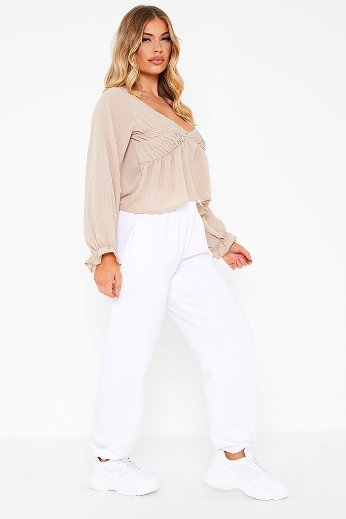 Taupe Woven Plunge Balloon Sleeve Smock Top view 3