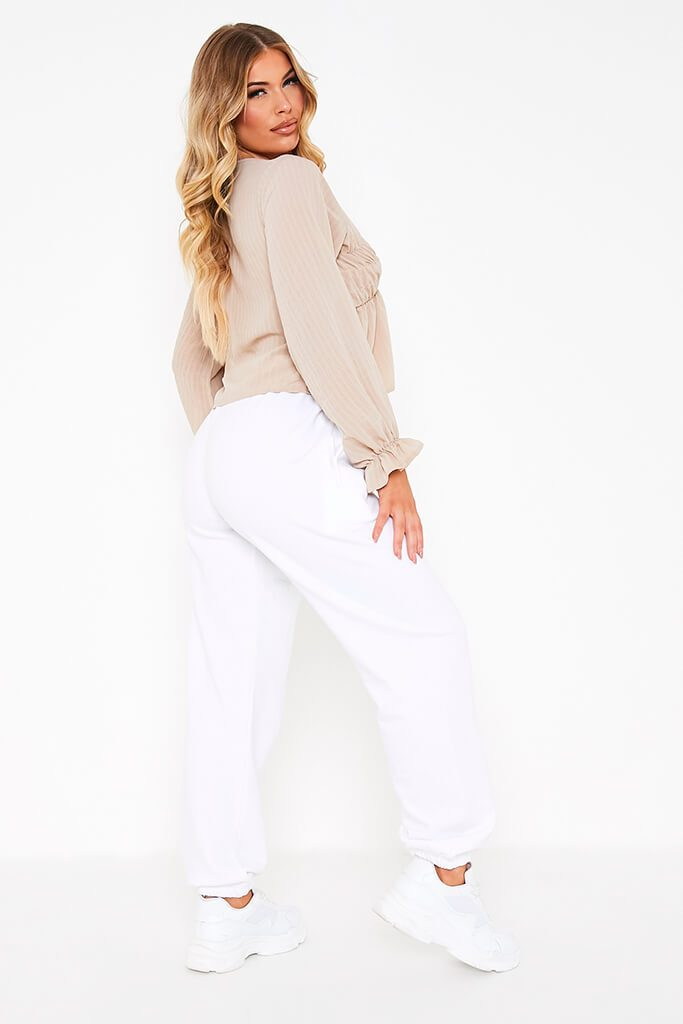 Taupe Woven Plunge Balloon Sleeve Smock Top view 4