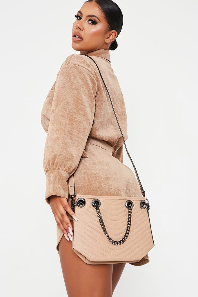 Stone Chain Detail Bucket Bag