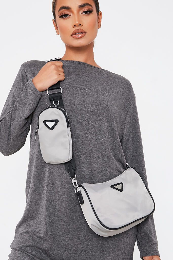 Grey Contrast Nylon Multi Use Bag