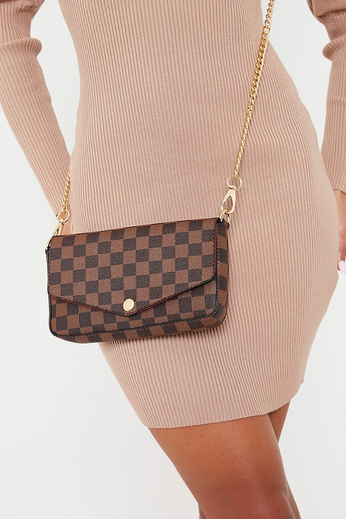 Brown Check Chain Mini Bag
