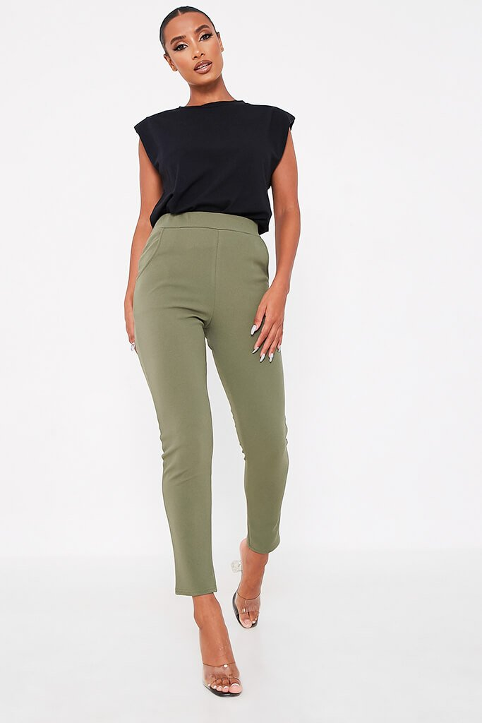 Khaki High Waist Skinny Trousers