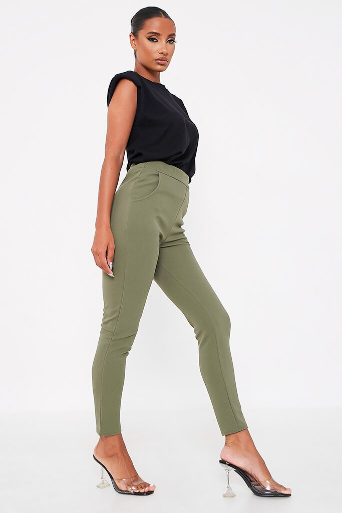 Khaki High Waist Skinny Trousers view 2