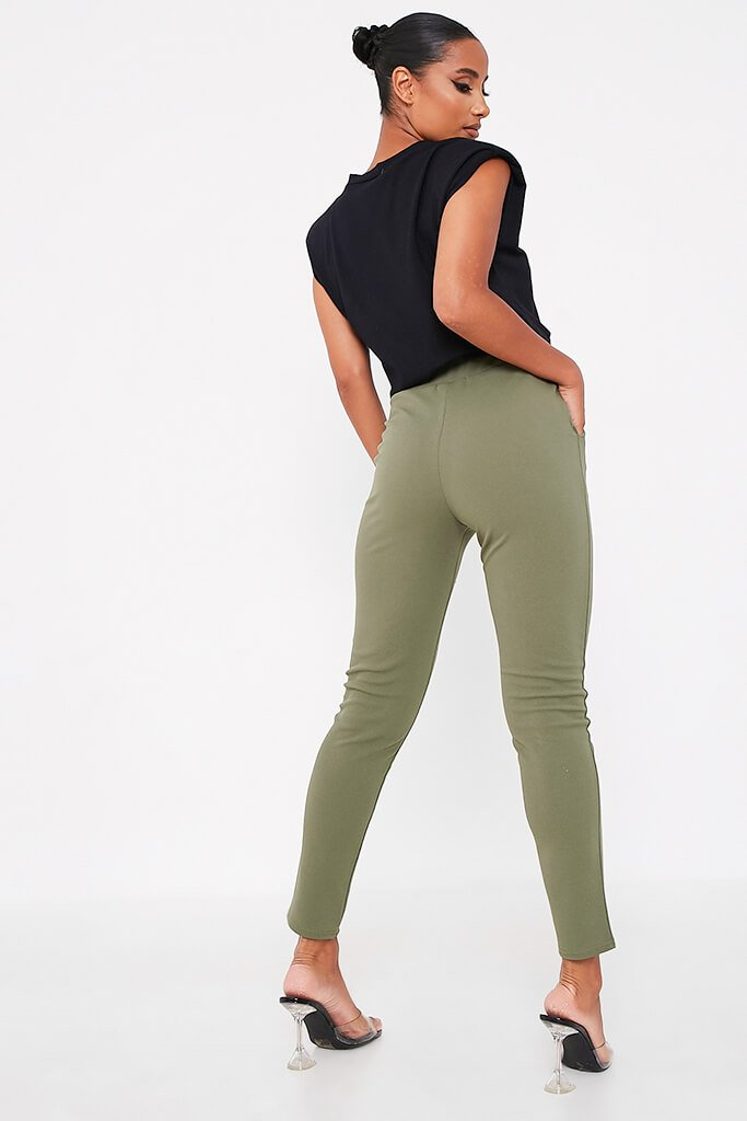 Khaki High Waist Skinny Trousers view 3