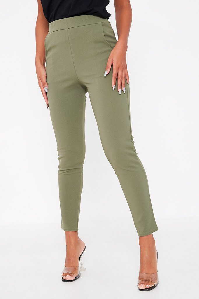 Khaki High Waist Skinny Trousers view 4