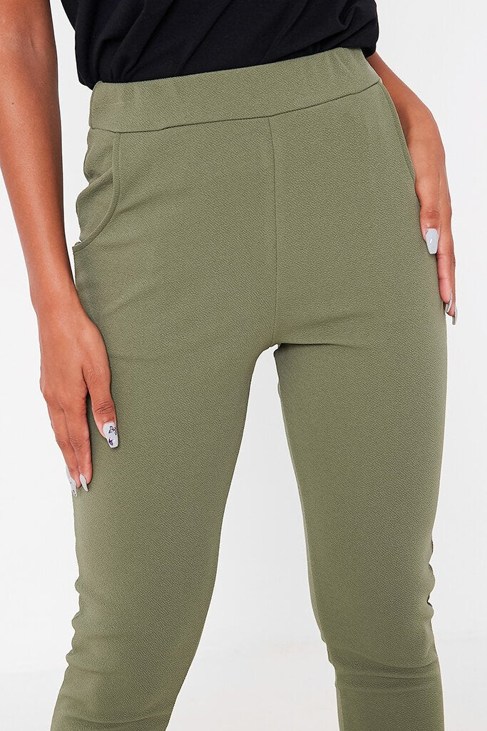Khaki High Waist Skinny Trousers view 5