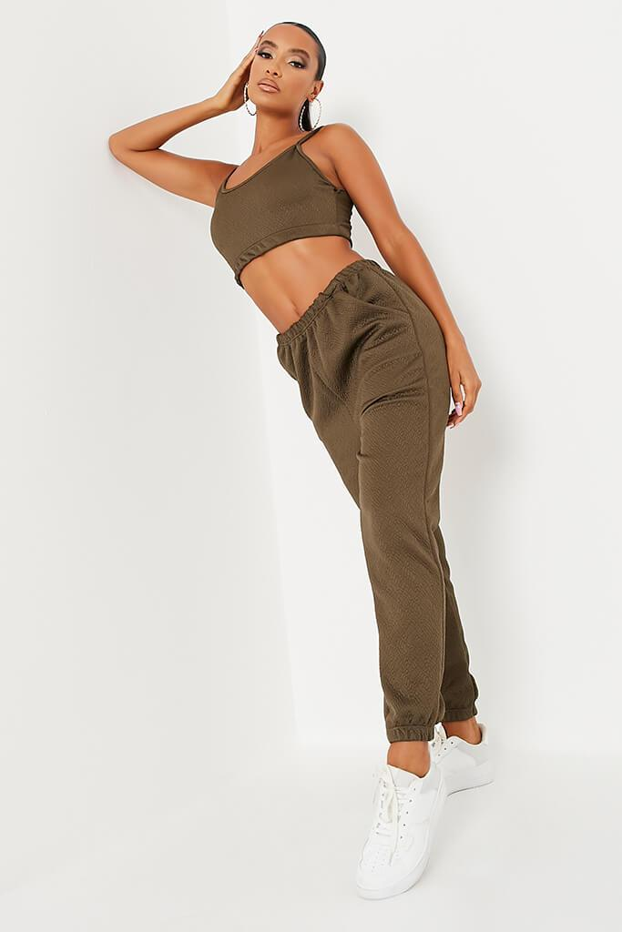 Khaki Textured Jogger And Crop Lounge Set view main view