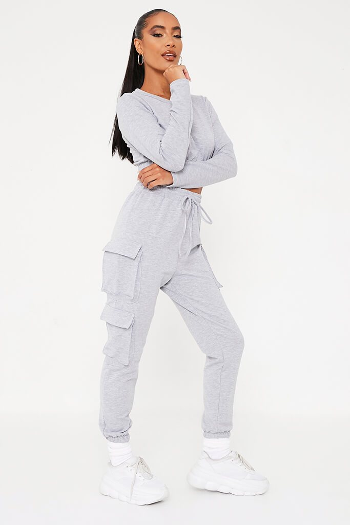Grey Double Pocket Jogger Lounge Set view 3