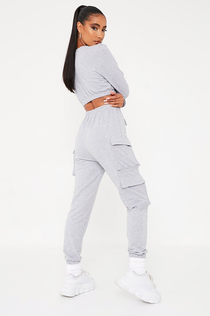 Grey Double Pocket Jogger Lounge Set view 4