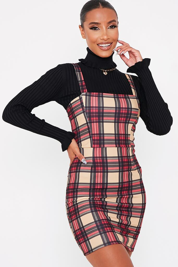 Stone Crepe Check Print Pinafore Dress