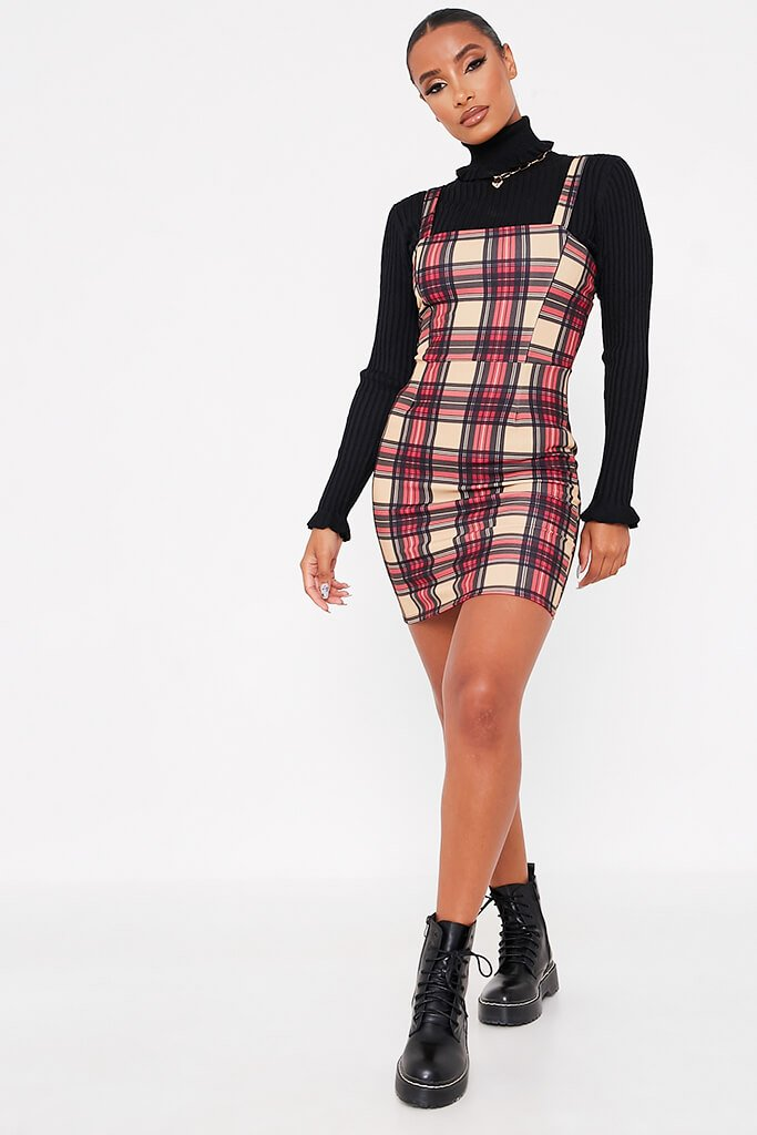 Stone Crepe Check Print Pinafore Dress view 2