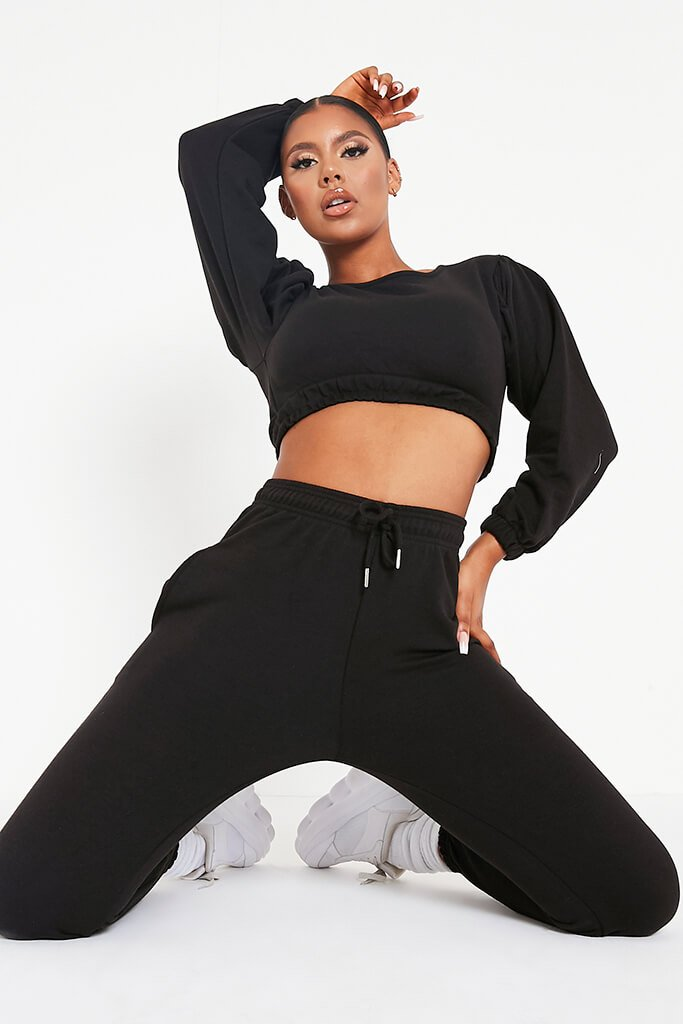 Black Balloon Sleeve Crop Top And Slim Jogger Lounge Set