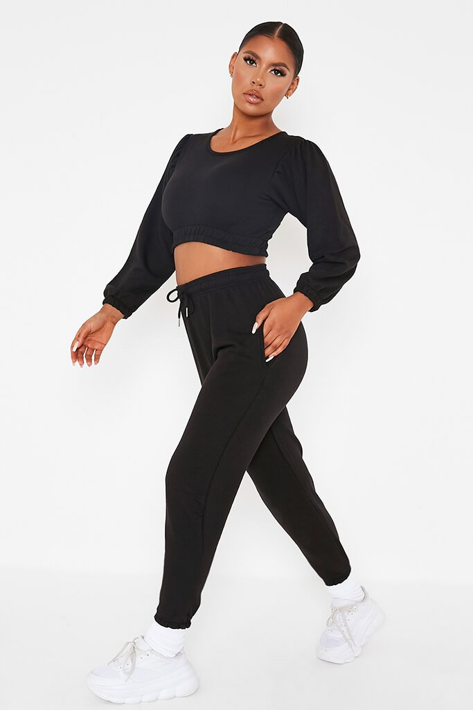 Black Balloon Sleeve Crop Top And Slim Jogger Lounge Set view 2