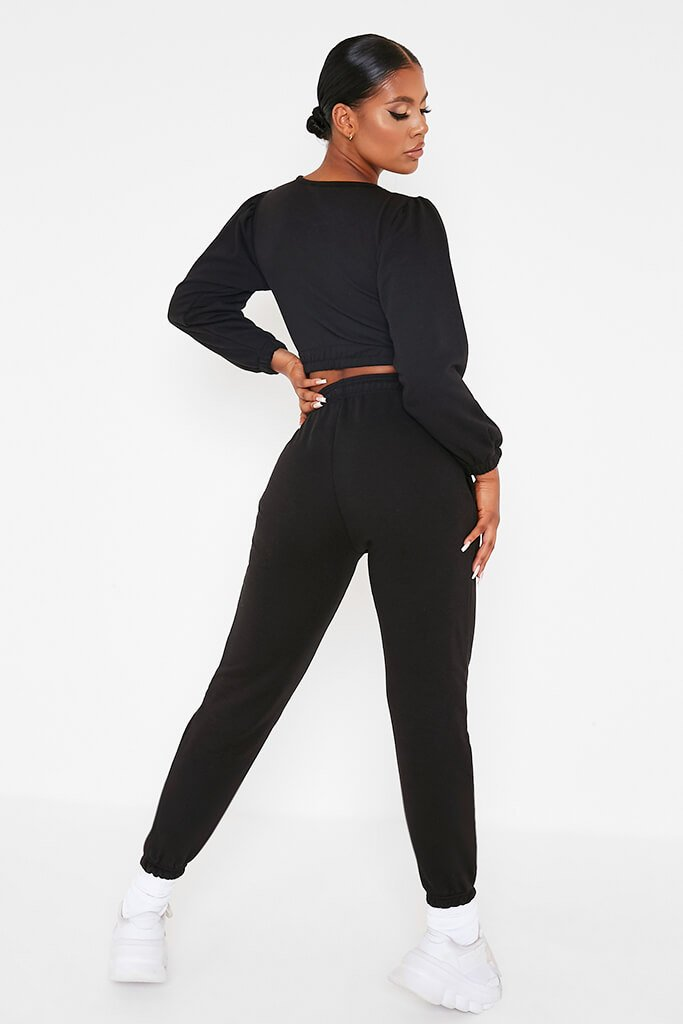 Black Balloon Sleeve Crop Top And Slim Jogger Lounge Set view 3