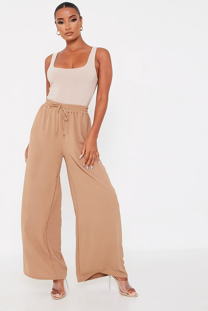 Camel Woven Tie Waist Wide Leg Trouser view main view